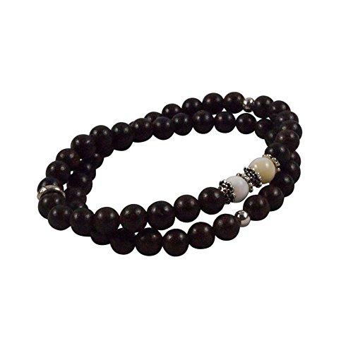 Agar Creations - Tibetan Buddhist Mala Bracelet - Tridacna and Agarwood 52-Bead Bracelet - Spiritual, Meditation by Agar Creations