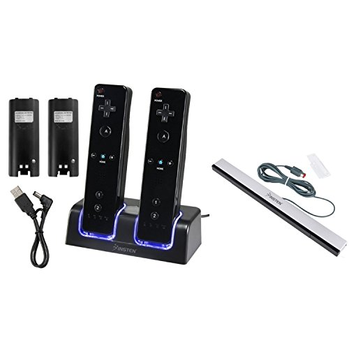 Insten Compatible With Nintendo Wii/ Wii U Black Remote Control Dual Charging Station w/ 2 Rechargeable 2800 mAh Batteries & LED Light + Wired Sensor Bar (Wii Mini Bundle compare prices)
