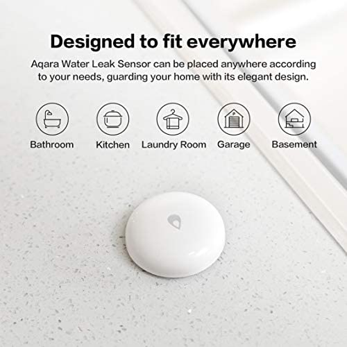 Aqara Water Leak Sensor, REQUIRES AQARA HUB, Wireless Water Leak Detector, Wireless Mini Flood Detector for Alarm System and Smart Home Automation, Water Sensor Alarm for Kitchen Bathroom Basement 41AwLmlyqsL