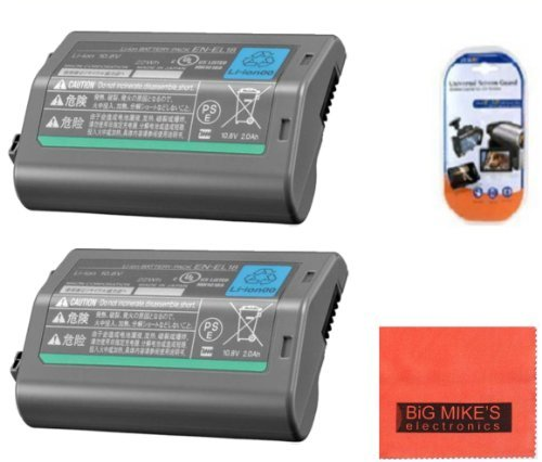 Pack of 2 EN-EL18 Batteries for Nikon D4, D4S, D5 Digital SLR Camera + More!! by Big Mike's