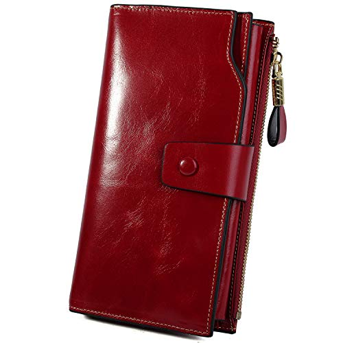YALUXE Women's Wax Genuine Leather RFID Blocking Large Capacity Luxury Clutch Wallet Card Holder Organizer Ladies Purse Wallets for Women Brown Red (Accented Clutch Handbag)