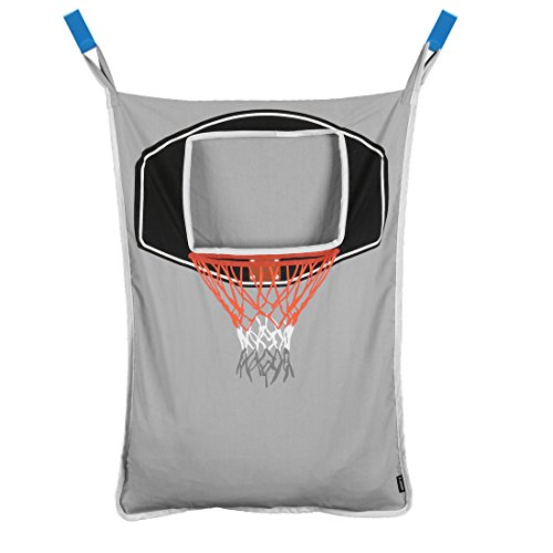Baby Sports Wall Hanging - Avery Barn Hanging Over The Door Kids Laundry Basket for Boys or Girls - Dirty Clothes Hamper Bag, with Easy Zipper Release Bottom - Great for Bathroom or Bedroom - Basketball Hoop Goal