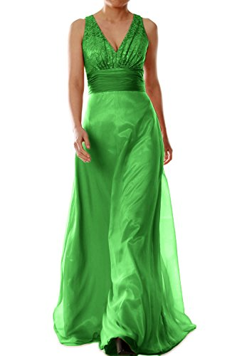 MACloth Women V Neck Chiffon Lace Long Bridesmaid Dress Wedding Party Formal Gown Verde