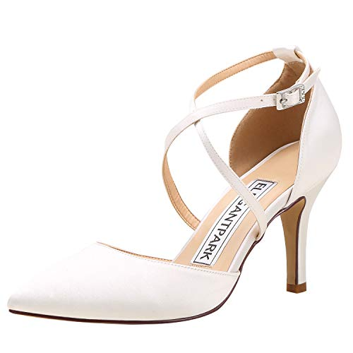 (ElegantPark Women Pointed Toe High Heel Pumps Satin Wedding Bridal Evening Party Dress Shoes Cross Strap Ivory US 9.5)