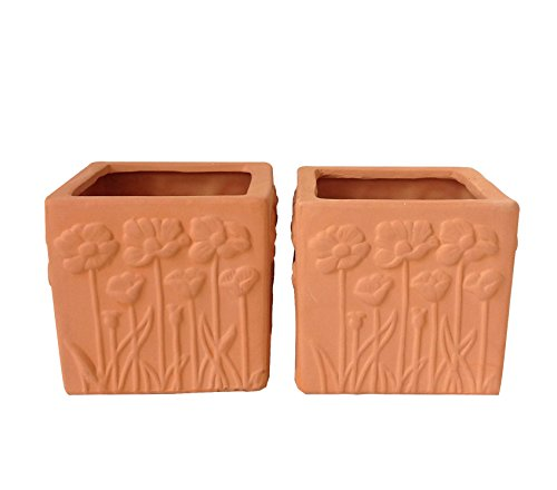 BIG Sale! Set of 2 Natural Colored Terra Cotta Flower Encrusted Square Shaped Garden Planters