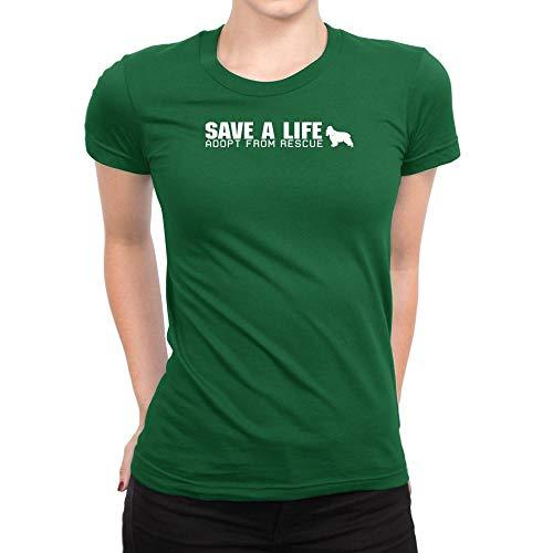 Idakoos Save a Life, Adopt from Rescue English Cocker Spaniel Women T-Shirt L Green