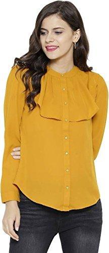 221d5880c468a POISON IVY women s full sleeve Mandarin collar Bit Layered Front Mustard  shirts (MUSTARD
