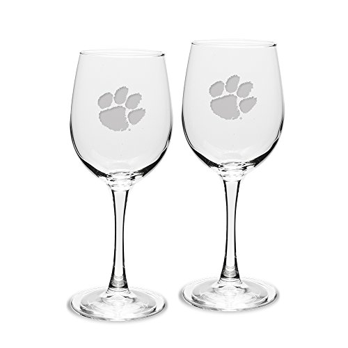 NCAA Clemson Tigers Adult Set of 2 - 12 oz White Wine Glasses Deep Etch Engraved, One Size, Clear -