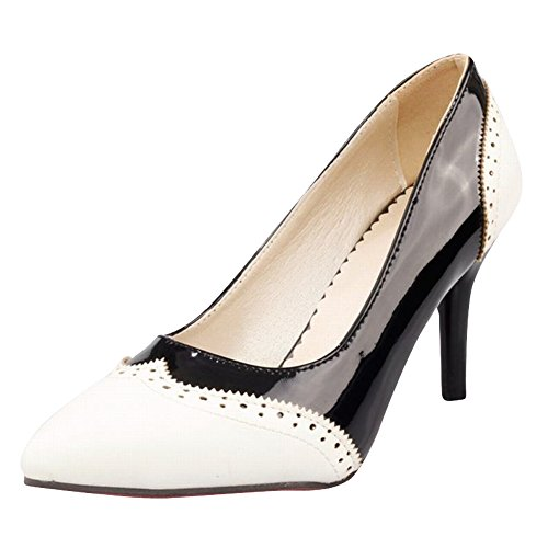 Carol Shoes Women's Sweet Fashion Stiletto High Heel Date Court Shoes White+Black tILQJEZQf