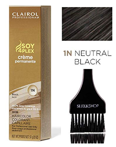 Clairol Soy4Plex Premium PERMANENT CREAM HAIR COLOR (w/Sleek Tint Brush) 100% Gray Coverage Creme Permanente Professional Grey Haircolor (1N Black Neutral)