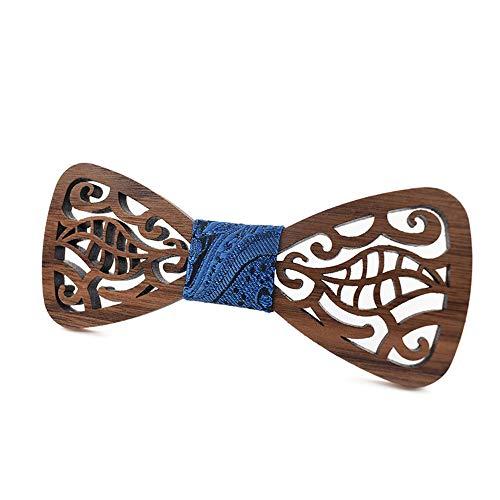Corbata de lazo de madera para hombre Una hoja de boda informal ...