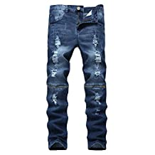 Pishon Men's Ripped Jeans Casual Straight Leg Zippered Stretch Distressed Jeans