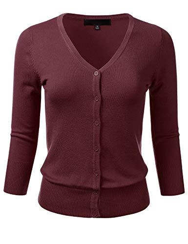 (FLORIA Women's Button Down 3/4 Sleeve V-Neck Stretch Knit Cardigan Sweater Burgundy)
