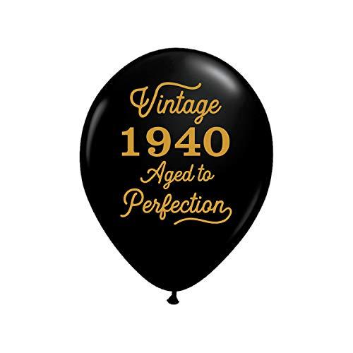 80th Birthday Balloons (Vintage 1940 Black Balloons - 80th Birthday Balloons - Set of 3-80th Birthday Party Balloons Black and)