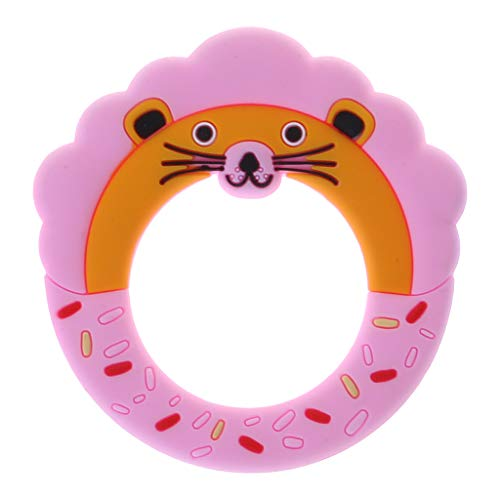 d22e89902643 Kimnny Teether, Baby Teether Lion Cute Cartoon Food Grade Silicone Bite  Chew Toys DIY Necklace Born Nursing Care Bpa Free Teething Pink