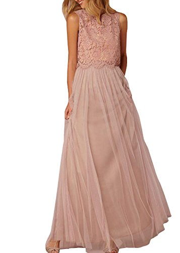 Prom Pieces Tulle Dresses Dress Lace Women's Bridesmaid Two DYS pink1 Homecoming CEw1tq4n