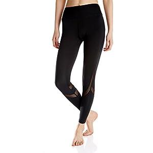 KIWI RATA Women Sports Mesh Trousers Athletic Gym Workout Fitness Waist Capris Yoga Pants Running Leggings, Black, Small