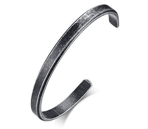 XUANPAI 6MM Free Custom Engraving Initial Name Date Stainless Steel Cuff Bangle Bracelet for Women Men (Diam 61MM/Grey, Non-Engraving) ()