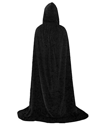 Boys Hooded Cloak Death Cape Play Costume Black Velvet 130cm - Kid Sized Black Velvet Cape