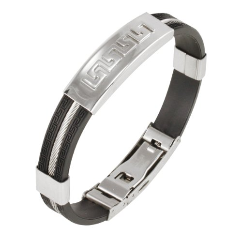 - Dahlia 10mm Wide Stainless Steel and Rubber Greek Key Bracelet 8