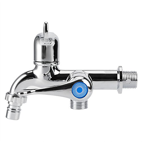 Water Tap Faucet Sink Basin Single Cooler Mixer Tap Double Spout Double Switch for Washing Machine Kitchen Sink Garden (Tail Handle)