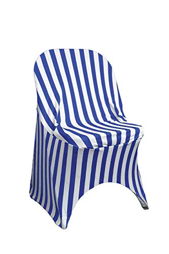 (Your Chair Covers - Stretch Spandex Folding Chair Covers Striped Royal Blue and White)