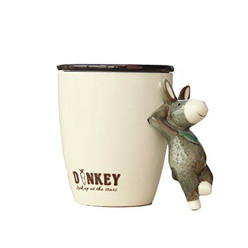 3D Handmade Hand-painted Creative Art Cute Animals Ceramic Coffee Mugs Cups Vivid Pattern Water Cup (Donkey)