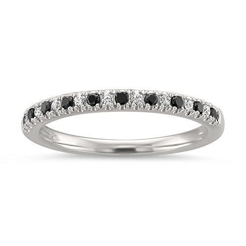 14k White Gold Round Black & White Diamond Micro-Pave Bridal Wedding Band Ring (1/4 cttw, H-I, VS2-SI1), Size 7.5