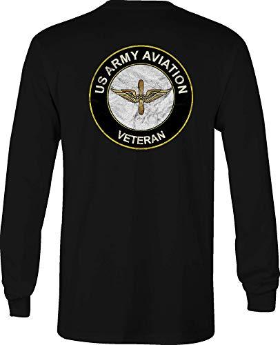 Hoody US Army Long Sleeve T Shirt Men Aviation Veteran Graphic Tee - XL -