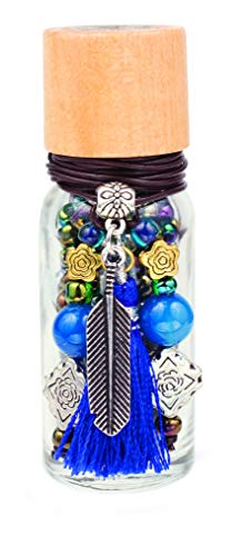 Bead Bottle - Feather, DIY Jewelry Kit, with Cobalt and Gunmetal Colored Beads, Feather Charm and Deep Blue Tassel