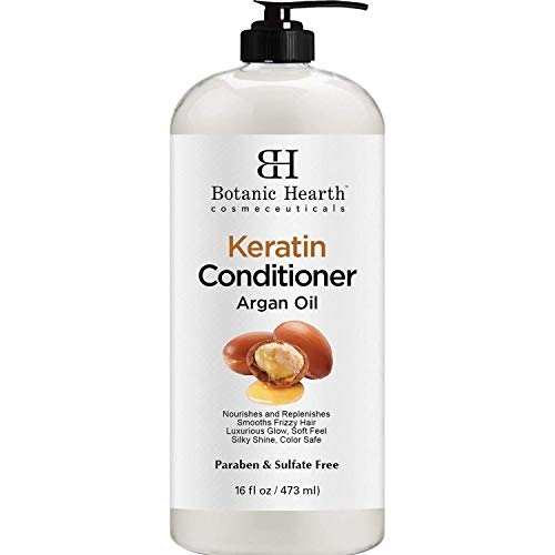Keratin Conditioner with Argan Oil by Botanic Hearth - Natural Sulfate Free Keratin Hair Treatment for Normal, Dry or Damaged Hair - All Hair Types, Women and Men, Color Treated Hair - 16 fl oz (Best Moisturizer For Color Treated Hair)