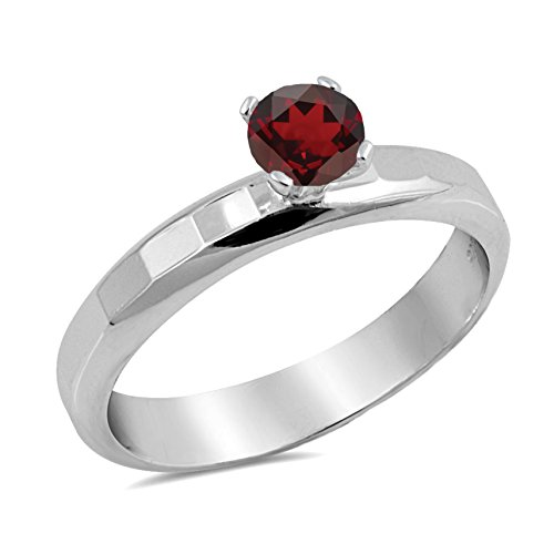 Genuine Round Ruby Solitaire Ring - 925 Sterling Silver Faceted Natural Genuine Red Ruby Round Solitaire Ring Size 6