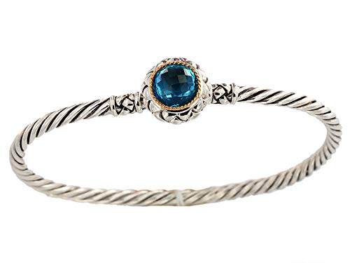 EFFY 925 STERLING SILVER/18K YELLOW GOLD BLUE TOPAZ -