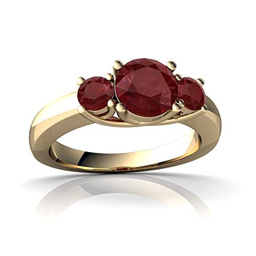 14kt Yellow Gold Ruby 3mm Round Three Stone Trellis Ring - Size 7 (Ruby Trellis Ring)