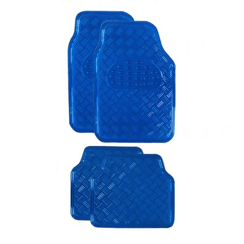 Blue Universal Floor Mat - BDK MT-641-BL Universal Fit 4-Piece Metallic Design Car Floor Mat - (Blue)