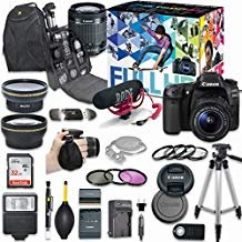 (Canon EOS 80D DSLR Camera Deluxe Video Creator Kit with Canon EF-S 18-55mm f/3.5-5.6 IS STM Lens + Rode VIDEOMIC GO Microphone + SanDisk 32GB SD Memory Card + Accessory Bundle)