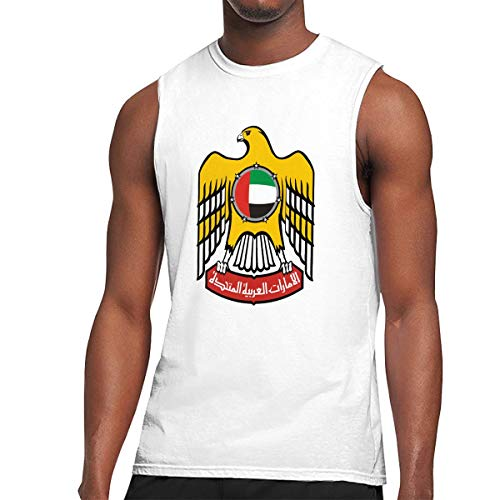 (Men's Print Coat of Arms of United Arab Emirates Sleeveless T Shirt Workout Tank Tops Vintage Gym Training Bodybuilding Tee White)