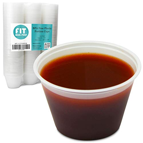 [250 Pack] 4 oz BPA Free Plastic Portion Cup - Disposable Jello Shots Sauce Condiment Souffle Dressing Mini Containers, Medicine Cups No Lids