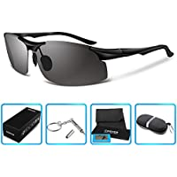 COSVER 8003 Men's Sports Style Polarized Sunglasses for Driving Fishing Golf Glasses (Black)