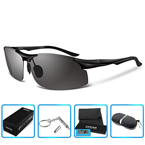 COSVER 8003 Men's Sports Style Polarized Sunglasses for Driving Fishing Golf Glass (Black, - Style Sunglasses Sunglasses