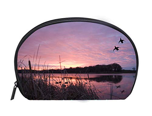 Portable Toiletry Cosmetic Bag Ducks landing at sunrise Travel Cosmetic Case Luxury Makeup Artist Bag ()