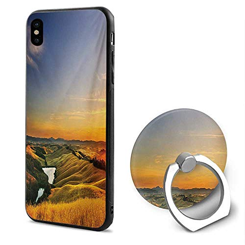 Italian iPhone x Cases,Magical Photo of Mediterranean Rural in The Valley with a Small Lake Nature Blue Yellow Green,Design Mobile Phone Shell Ring Bracket