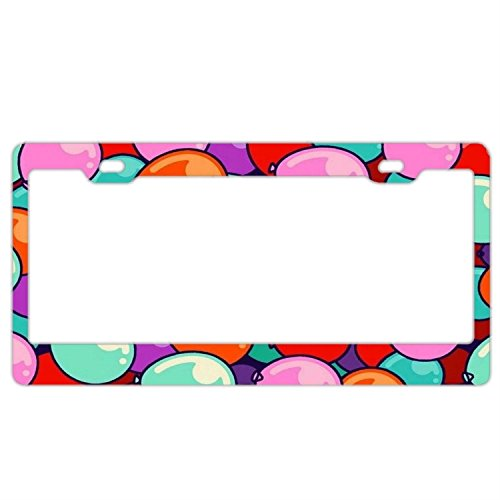 Price comparison product image huizehonghong Personalized License Plate Frames,  Colorful Ballon License Plate Frame Printed Pattern Slim License Plate Cover for US Car