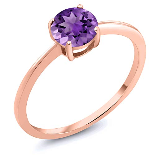 Gem Stone King 10K Rose Gold 1.00 Ct Round Purple Amethyst Solitaire Engagement Ring (Size 9) 1 Ct Amethyst Solitaire