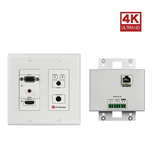 HDMI/VGA Wall Plate Extender Transmitter ,4K x 2K UHD,Bi-Directional IR + RS232+HDCP2.2+EDID Management,Over Single Cat5e/6/7,131ft 4K60Hz,230ft 1080P,Aluminum case,Built-in IR Receiver