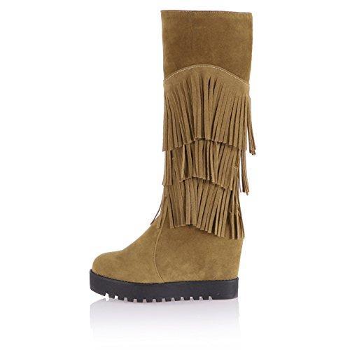 Heel Mid Boots Shine Womens Calf Platform Apricot High Show Hidden Tassels zx4IqFPY