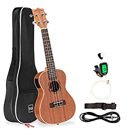 Best Choice Products 23in Acoustic Electric Concert Sapele Ukulele Starter Kit w/Gig Bag, Built-in Tuner, Strap, Extra…