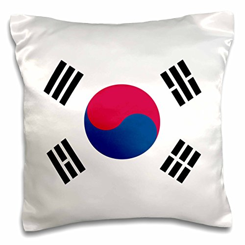 "Price comparison product image 3dRose pc_158435_1 Flag Of South Korea Korean White Red Blue Taegeuk Circle Black Trigrams Taiji Yinyang Taegeukgi Pillow Case, 16"" x 16"""