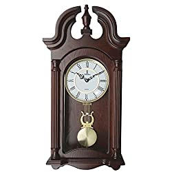 Best Pendulum Wall Clock, Silent Decorative Wood Clock With Swinging Pendulum and Glass Front, Battery Operated, Large Dark Wooden Design, 23.5 x 9.25 x 2.75 inches