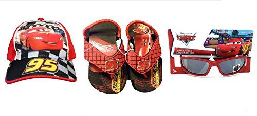 Disney Pixar CARS Toddler Boys Baseball Cap Flip Flops and 100% UV Pprotection Sunglasses - Lightning Sunglasses